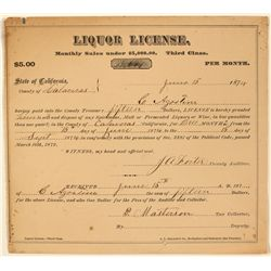 1874 Liquor License for Agostini