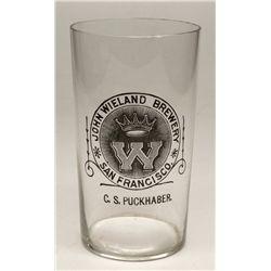 John Wieland Brewery Glass, C.S. Puckhaber Agent