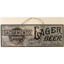 Early Sacramento Brewery Lager Beer Tin Sign