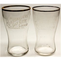 Two bulbous Ruhstallers glasses