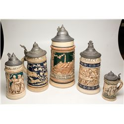 Tivoli Lager Ceramic Beer Steins (Set of 5), Aug. Lang & Co.