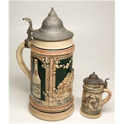 Two Ceramic Beer Steins: Aug. Lang & Co and Tivoli