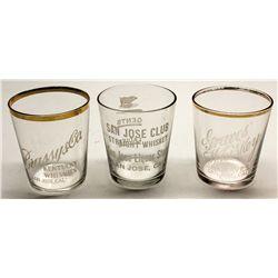 Three San Jose shot glasses