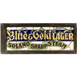 Solano Brewery Lager & Steam Beer Stained Glass Sign