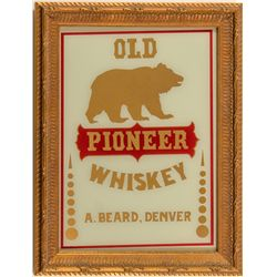 Old Pioneer Whiskey Reverse on Glass Advertising