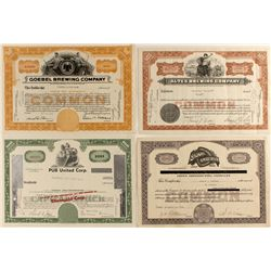 Four brewing stock certificates