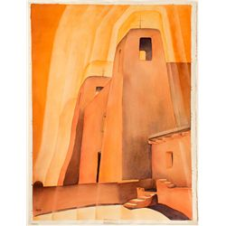 """Fr. Xavier's Dream at Acoma"" (Pueblo, New Mexico) by Nevada Artist Ruth Hilts"