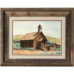 Bodie, CA Church Watercolor by Cheryln Bennett