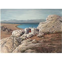 Pyramid Lake Oil Painting by Joan Scott Brown