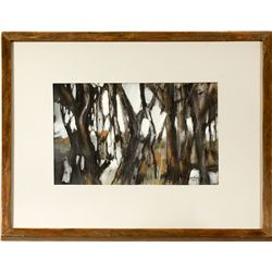 Trees Mixed Media Painting by Harlan Halladay
