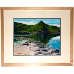 """Beachcomber at Bonne Bay"" acrylic on w/c paper by Mike Hess"