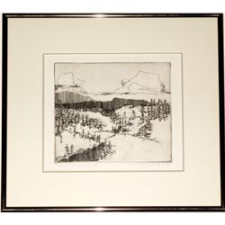 """Sierrascape"" etching by Jim McCormick"