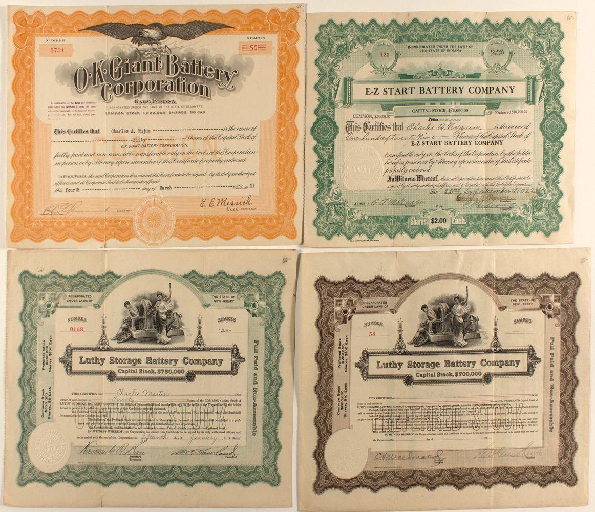 Battery Companies Stock Certificates