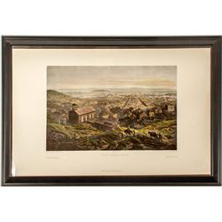 Hand-colored Lithograph of San Francisco by L. Sabtier