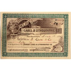 Choice Stock Certificate for Schmidt Label & Lithographic Co.