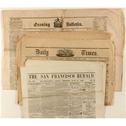 Nine 1850's San Francisco Gold Rush newspapers