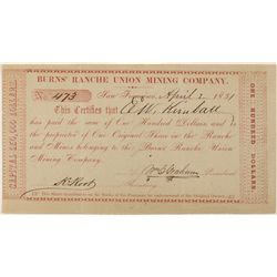 One of the Earliest Known California Issued Mining Stocks