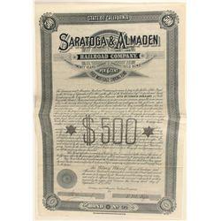 Saratoga & Almaden Railroad Co. $500 Gold Bond