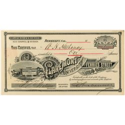 Claremont, University and Ferries Street Railroad Co. Stock Certificate