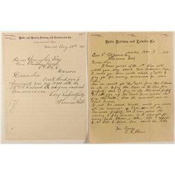 Two Rare Bodie Railroad Letters