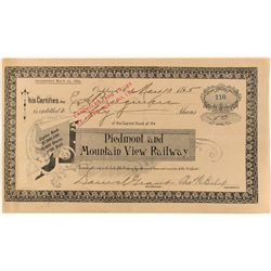 Piedmont and Mountain View Railway Stock Certificate