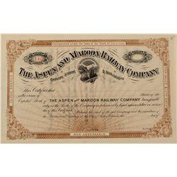 Aspen & Maroon Railway Stock Certificate