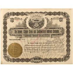 Denver, Cripple Creek & Southwestern Stock Certificate