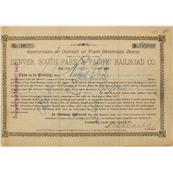 Denver, South Park & Pacific Railroad Co. Bond