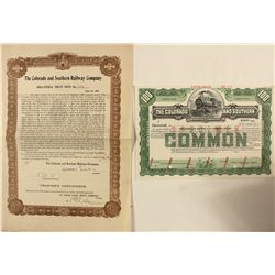 Colorado and Southern Railway specimen stock and gold note