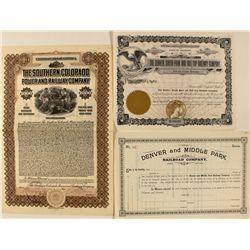 Three Colorado Railroad Stock Certificates