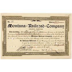 Montana Railroad Co. Stock Certificate