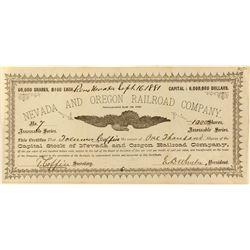 Nevada and Oregon Railroad Co. Stock Certificate