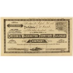 Oregon & Washington Territory Railroad Co. Stock Certificate
