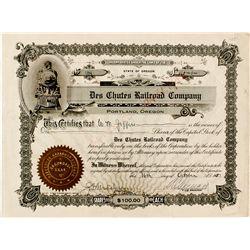Des Chutes Railroad Co. Stock Certificate