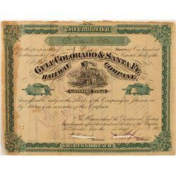 Gulf Colorado & Sante Fe Railway Co. Stock Certificate