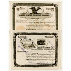 Two Ogden Railway Stock Certificates