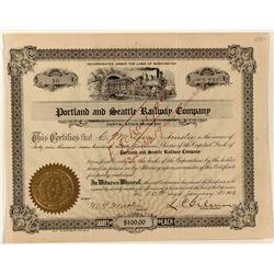Portland and Seattle Railway Co. Stock Certificate