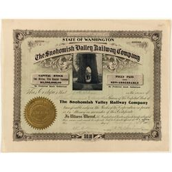 The Snohomish Valley Railway Co. Stock Certificate