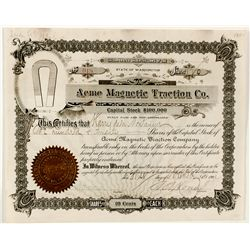 Acme Magnetic Traction Co. Stock Certificate