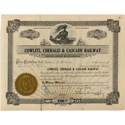 Cowlitz, Chehalis & Cascade Railway Stock Certificate