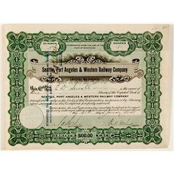 Seattle, Port Angeles & Western Railway Co. Stock Certificate