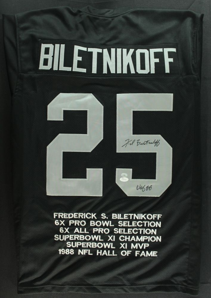 meet 84c50 0d653 Fred Biletnikoff Signed Raiders Stat Jersey Inscribed