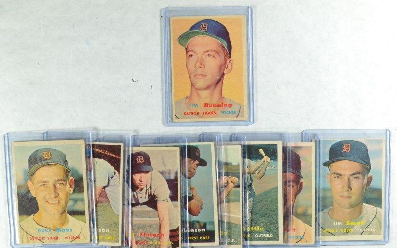 1957 Topps Detroit Tigers Team Lot 9 Cards Jim Bunning R