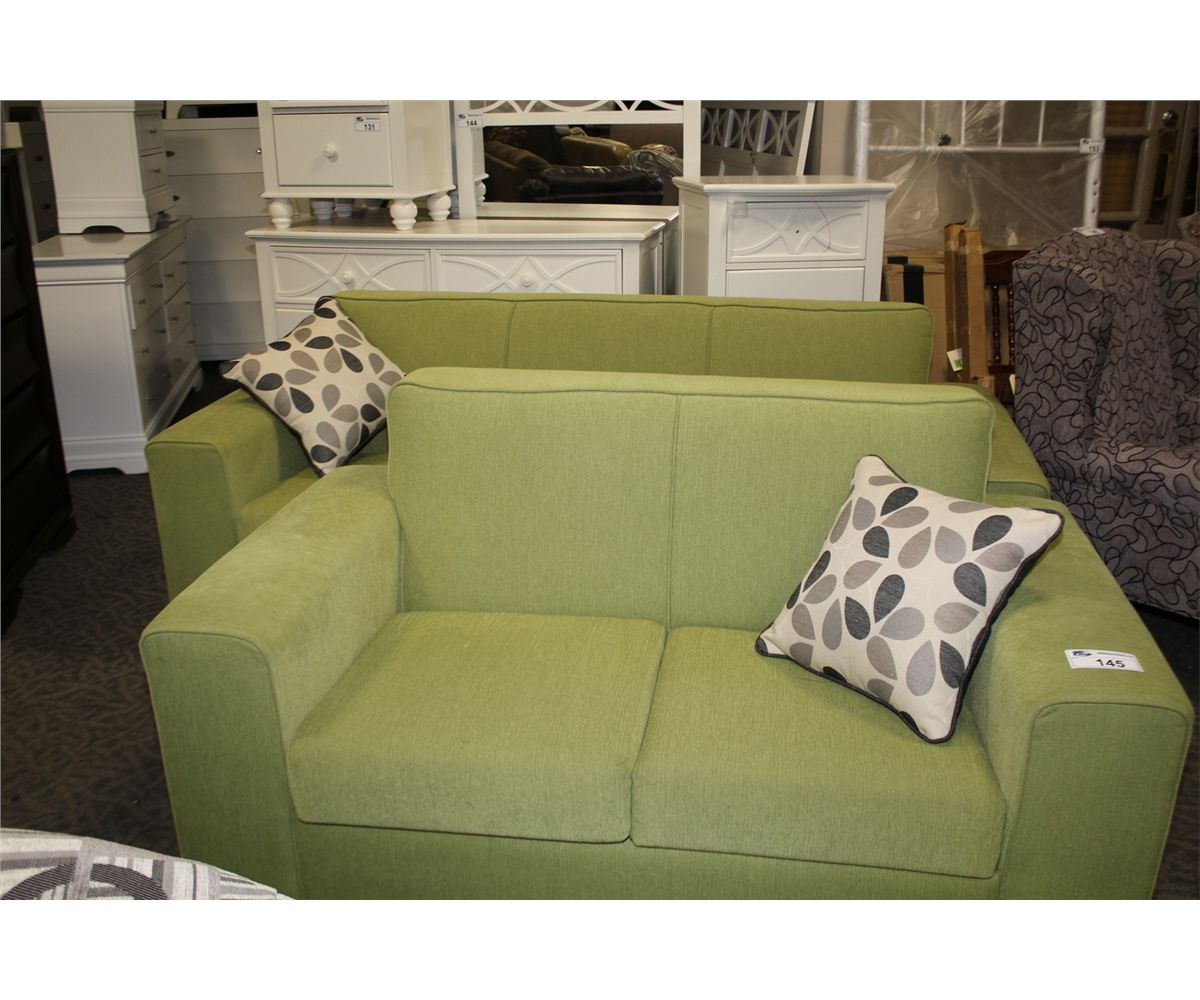 Picture of: Lime Green Sofa And Loveseat Set With 2 Throw Cushions