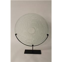 """JOHN NUTTER, CARVED GLASS FEATURING EDENSHAW IMAGERY, ON PAINTED  STEEL BASE 20"""" DIAMETER"""