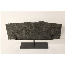 """JOHN NUTTER, CARVED GLASS BOX PANEL, ON PAINTED STEEL BASE 20"""" X 8"""""""