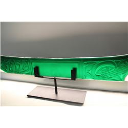 """JOHN NUTTER,  CARVED JADE COLOURED GLASS """"THE SEAWOLF"""" ON PAINTED STEEL BASE 39"""" X 6"""""""