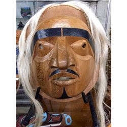 GENE BRABANT (1946-) BELLA COOLA HUMAN MASK- ORIGINALLY A STUDY OF AN OLD MASK IN THE FILED
