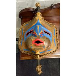 MATHEW J. ESQUEGA, OJIBWAY NATION (NUU-CHA-NULTH STYLE) NORTH WIND MASK SIGNED AND DATED ON THE