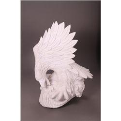 Exquisite white quartz Eagle killing a fish on the